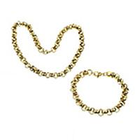 Ogranicz ze stali nierdzewnej Zestawy biżuterii, bransoletka & naszyjnik, Stal nierdzewna, Platerowane w kolorze złota, różnej wielkości do wyboru & Rolo łańcucha, 10zestawy/wiele, sprzedane przez wiele