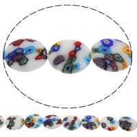 Стеклянные бусины, выполненные в технике миллефиори, Миллефиори, Плоская круглая форма, Связанный вручную, разный размер для выбора, отверстие:Приблизительно 1mm, длина:Приблизительно 14.2 дюймовый, продается сумка
