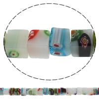 Стеклянные бусины, выполненные в технике миллефиори, Миллефиори, Куб, Связанный вручную, разный размер для выбора, отверстие:Приблизительно 1mm, длина:Приблизительно 14.2 дюймовый, продается сумка