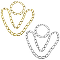 Refine Stainless Steel Jewelry Sets, bracelet & necklace, plated, curb chain, more colors for choice, 22.5x11.5x3mm, 22.5x11.5x3mm, Length:Approx 24 Inch, Approx 9 Inch, 5Sets/Lot, Sold By Lot