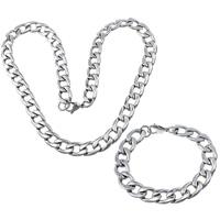 Ogranicz ze stali nierdzewnej Zestawy biżuterii, bransoletka & naszyjnik, Stal nierdzewna, łańcucha krawężnika, oryginalny kolor, 19x13x3mm, 19x13x3mm, długość:około 24.5 cal, około 8.5 cal, 5zestawy/wiele, sprzedane przez wiele