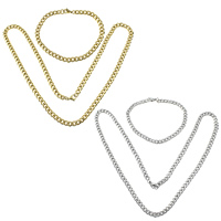 Refine Stainless Steel Jewelry Sets, bracelet & necklace, plated, curb chain, more colors for choice, 7x5x1.3mm, 7x5x1.3mm, Length:Approx 21.5 Inch, Approx 8 Inch, 5Sets/Lot, Sold By Lot