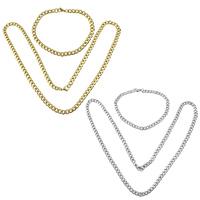 Ogranicz ze stali nierdzewnej Zestawy biżuterii, bransoletka & naszyjnik, Stal nierdzewna, Powlekane, łańcucha krawężnika, dostępnych więcej kolorów, 7x5x1.3mm, 7x5x1.3mm, długość:około 21.5 cal, około 8 cal, 5zestawy/wiele, sprzedane przez wiele