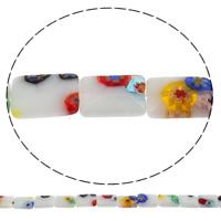 Стеклянные бусины, выполненные в технике миллефиори, Миллефиори, Прямоугольная форма, Связанный вручную, разный размер для выбора, отверстие:Приблизительно 1mm, длина:Приблизительно 15.7 дюймовый, продается сумка