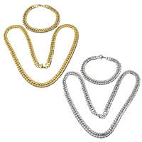 Refine Stainless Steel Jewelry Sets, bracelet & necklace, plated, curb chain, more colors for choice, 13x9x2mm, 13x9x2mm, Length:Approx 23.7 Inch, Approx 8.5 Inch, 5Sets/Lot, Sold By Lot