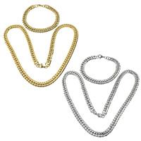 Ogranicz ze stali nierdzewnej Zestawy biżuterii, bransoletka & naszyjnik, Stal nierdzewna, Powlekane, łańcucha krawężnika, dostępnych więcej kolorów, 13x9x2mm, 13x9x2mm, długość:około 23.7 cal, około 8.5 cal, 5zestawy/wiele, sprzedane przez wiele