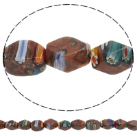Goldsand Millefiori Glass Beads, Drum, handmade, 12x16mm, Hole:Approx 1mm, Length:Approx 15.3 Inch, 10Strands/Bag, Approx 24PCs/Strand, Sold By Bag