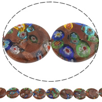 Goldsand Millefiori Glass Beads, Flat Round, handmade, different size for choice, Hole:Approx 1mm, Length:Approx 14.5 Inch, Sold By Bag