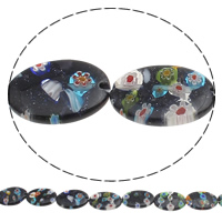 Bluesand Millefiori Beads, Flat Oval, handmade, 18x25mm, Hole:Approx 1mm, Length:Approx 14 Inch, 10Strands/Bag, Approx 14PCs/Strand, Sold By Bag
