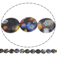 Bluesand Millefiori Beads, Flat Round, handmade, 12x3mm, Hole:Approx 1mm, Length:Approx 14.7 Inch, 10Strands/Bag, Approx 32PCs/Strand, Sold By Bag
