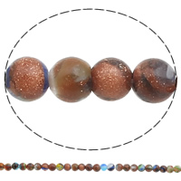 Goldsand Millefiori Glass Beads, Round, handmade, different size for choice, Hole:Approx 1mm, Length:Approx 14.5 Inch, Sold By Bag