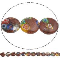 Украшения стеклянные Миллефиори бусы, Голдсэнд Миллефиори, Плоская круглая форма, Связанный вручную, 12x3mm, отверстие:Приблизительно 1mm, длина:Приблизительно 14.5 дюймовый, 10пряди/сумка, Приблизительно 32ПК/Strand, продается сумка