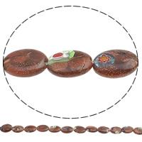 Украшения стеклянные Миллефиори бусы, Голдсэнд Миллефиори, Плоская овальная форма, Связанный вручную, разный размер для выбора, отверстие:Приблизительно 1mm, длина:Приблизительно 13.7 дюймовый, продается сумка