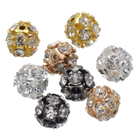 Rhinestone Spacers, Brass, Round, plated, with rhinestone, more colors for choice, nickel, lead & cadmium free, 8mm, Hole:Approx 1.4mm, 100PCs/Lot, Sold By Lot