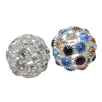 Rhinestone Spacers, Brass, Round, silver color plated, with rhinestone, mixed colors, nickel, lead & cadmium free, 18mm, Hole:Approx 4.4mm, 30PCs/Lot, Sold By Lot