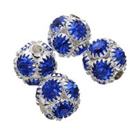 Rhinestone Spacers, Brass, Round, silver color plated, with rhinestone, nickel, lead & cadmium free, 10mm, Hole:Approx 2mm, 50PCs/Lot, Sold By Lot
