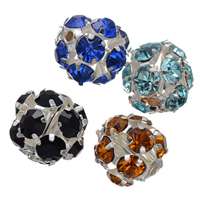 Rhinestone Spacers, Brass, Round, silver color plated, with rhinestone, more colors for choice, nickel, lead & cadmium free, 14mm, Hole:Approx 2.2mm, 100PCs/Lot, Sold By Lot
