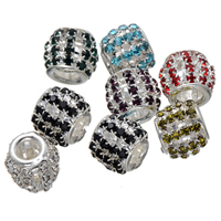 Rhinestone Spacers, Brass, Column, silver color plated, with rhinestone, more colors for choice, nickel, lead & cadmium free, 12mm, Hole:Approx 6mm, 50PCs/Lot, Sold By Lot