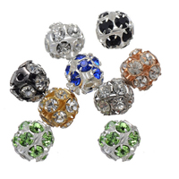 Rhinestone Spacers, Brass, Round, plated, with rhinestone, more colors for choice, nickel, lead & cadmium free, 10mm, Hole:Approx 1.4mm, 200PCs/Lot, Sold By Lot