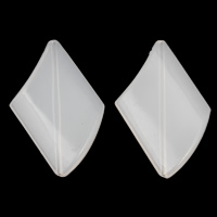 Jelly Style Acrylic Beads, Rhombus, white, 30x46x7mm, Hole:Approx 1mm, 2Bags/Lot, Approx 100PCs/Bag, Sold By Lot