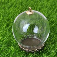 Стеклянный Купол Крышка Кулон, с цинковый сплав, Другое покрытие, очистить, не содержит никель, свинец, 30mm, отверстие:Приблизительно 2mm, 40ПК/Лот, продается Лот