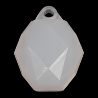 Acrylic Pendants, Drum, faceted & jelly style, white, 20x25x13mm, Hole:Approx 2mm, 2Bags/Lot, Approx 135PCs/Bag, Sold By Lot