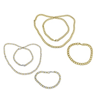 Refine Stainless Steel Jewelry Sets, bracelet & necklace, plated, curb chain, more colors for choice, 9x6x1.5mm, 9x6x1.5mm, Length:Approx 8 Inch, Approx 28 Inch, 10Sets/Lot, Sold By Lot