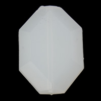 Jelly Style Acrylic Beads, Polygon, faceted, white, 26x38x8mm, Hole:Approx 1mm, 2Bags/Lot, Approx 80PCs/Bag, Sold By Lot