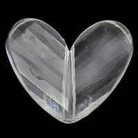 Transparent Acrylic Beads, Heart, faceted, 33x28x9mm, Hole:Approx 2mm, 2Bags/Lot, Approx 105PCs/Bag, Sold By Lot