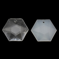 Transparent Acrylic Beads, Hexagon, different styles for choice & faceted, 20x18x5mm, Hole:Approx 1mm, 2Bags/Lot, Approx 450PCs/Bag, Sold By Lot