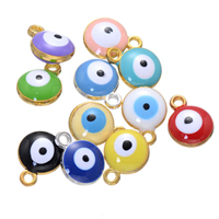 Evil Eye Pendants, Zinc Alloy, plated, enamel, more colors for choice, nickel, lead & cadmium free, 10x13mm, Hole:Approx 2mm, 500PCs/Lot, Sold By Lot