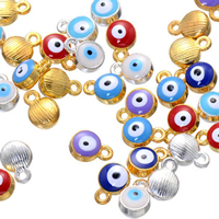 Evil Eye Pendants, Zinc Alloy, plated, enamel, more colors for choice, nickel, lead & cadmium free, 7x10mm, Hole:Approx 1.6mm, 500PCs/Lot, Sold By Lot