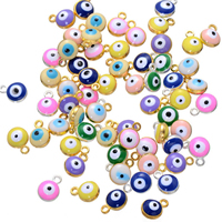 Evil Eye Pendants, Zinc Alloy, plated, enamel, more colors for choice, nickel, lead & cadmium free, 7x9mm, Hole:Approx 1.4mm, 500PCs/Lot, Sold By Lot