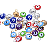 Evil Eye Pendants, Zinc Alloy, plated, enamel, more colors for choice, nickel, lead & cadmium free, 9x12mm, Hole:Approx 2mm, 500PCs/Lot, Sold By Lot