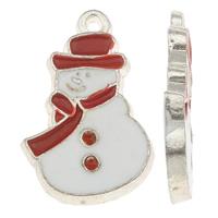 Sinkkiseos Christmas riipukset, Lumiukko, hopea päällystetty, emali & kaksisävyinen, lyijy ja sen kadmium vapaa, 17x26x2.50mm, Reikä:N. 1.5mm, 10PC/laukku, Myymät laukku
