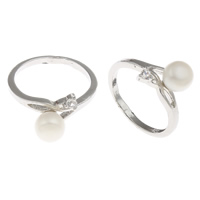 Freshwater Pearl Finger Ring, with Brass, platinum color plated, white, 7-8mm, Hole:Approx 16-18mm, Sold By PC