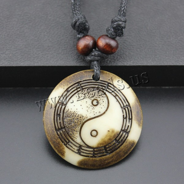 Resin Pendant Flat Round imitation ox bone & ying yang 40x40x6mm Hole:Approx 2mm 1 Sold Lot