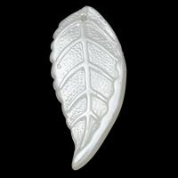 Tworzywa ABS perła Wisiorek, Liść, biały, 14x33x3.50mm, otwór:około 1mm, 2Torby/wiele, około 625komputery/torba, sprzedane przez wiele