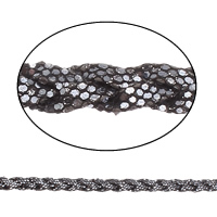 Velveteen Cord with Plastic Sequin braided black 10x4mm 50m/Bag