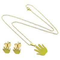 Ogranicz ze stali nierdzewnej Zestawy biżuterii, kolczyk & naszyjnik, Stal nierdzewna, Ręka, Platerowane w kolorze złota, owalne łańcucha & emalia, zieleń trawy, 2x1.5x0.3mm, 18x22x2mm, 7x8x13mm, długość:około 18 cal, 10zestawy/wiele, sprzedane przez wiele
