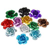 Alumiini kukka helmiä, maalannut, Kiinalainen & kerroksittainen, enemmän värejä valinta, nikkeli, lyijy ja kadmium vapaa, 15x9mm, Reikä:N. 1mm, 930PC/laukku, Myymät laukku