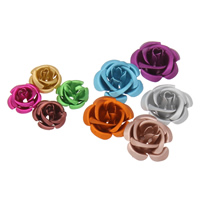Aluminium bloem kralen, geschilderd, Koreaanse stijl & verschillende grootte voor keus & gelaagde & mat, meer kleuren voor de keuze, nikkel, lood en cadmium vrij, 15x9mm, Gat:Ca 1mm, 1000pC's/Bag, Verkocht door Bag