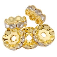 Iron Spacer Bead, Round, gold color plated, with rhinestone, nickel, lead & cadmium free, 10.5x4mm, Hole:Approx 2mm, 100PCs/Bag, Sold By Bag