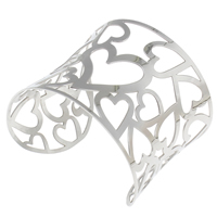 Stal nierdzewna Bransoletka półotwarta, z serca wzór & pusty, oryginalny kolor, 60x50x52mm, średnica wewnętrzna:około 67x46mm, długość:około 8 cal, sprzedane przez PC