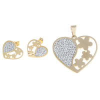 Fashion Stainless Steel Jewelry Sets, pendant & earring, with Clay Pave, Heart, gold color plated, with rhinestone, 35x33x3mm, 17x16x2mm, Hole:Approx 5x7mm, Sold By Set