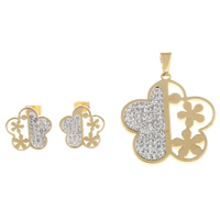 Fashion Stainless Steel Jewelry Sets, pendant & earring, with Clay Pave, Flower, gold color plated, with rhinestone, 36x39x3mm, 17x2mm, Hole:Approx 5x7mm, Sold By Set