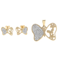 Fashion Stainless Steel Jewelry Sets, pendant & earring, with Clay Pave, Butterfly, gold color plated, with rhinestone, 36x28x3mm, 17x13x1.5mm, Hole:Approx 5x7mm, Sold By Set