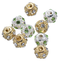 Rhinestone Spacers, Zinc Alloy, Drum, plated, with rhinestone & hollow, more colors for choice, nickel, lead & cadmium free, 12mm, Hole:Approx 3.8mm, 50PCs/Lot, Sold By Lot