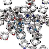 Rhinestone Spacers, Zinc Alloy, Flower, silver color plated, with rhinestone, more colors for choice, nickel, lead & cadmium free, 12mm, Hole:Approx 5.4mm, 200PCs/Lot, Sold By Lot