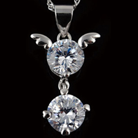 Cubic Zirconia Pendant, 925 Sterling Silver, Flat Round, with cubic zirconia, 13x27mm, Hole:Approx 4x5mm, 10PCs/Lot, Sold By Lot